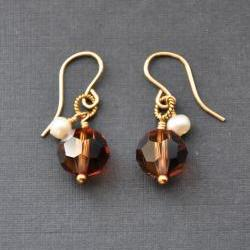 Brown Crystal Earrings 14K Gold Filled