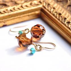Small Crystal Earrings Brown Turquoise Blue 14K Gold Fill