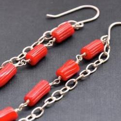Bamboo Coral Earrings Red Stone Sterling Silver Long Chain Accessory Gem Jewelry Natural Semi-precious Stone Dangle Summer Fashion