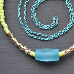 Recycled Glass Necklace Seed Bead Long Chain Necklace Aqua Blue Lime Green Teal Gold Summer Fashion Weekend Wear Resort Beachwear Accessory